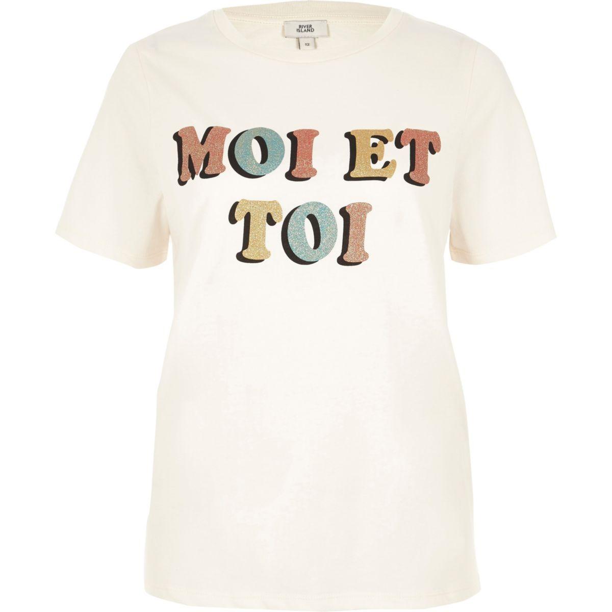 Beige T-shirt met 'moi et toi'-glitterprint