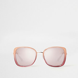 Pink and red glam oversized mirror sunglasses