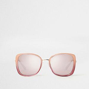 Roze en rode ovesized glamzonnebril met spiegelglazen