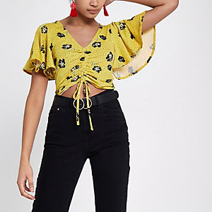 Yellow floral ruched front frill crop top