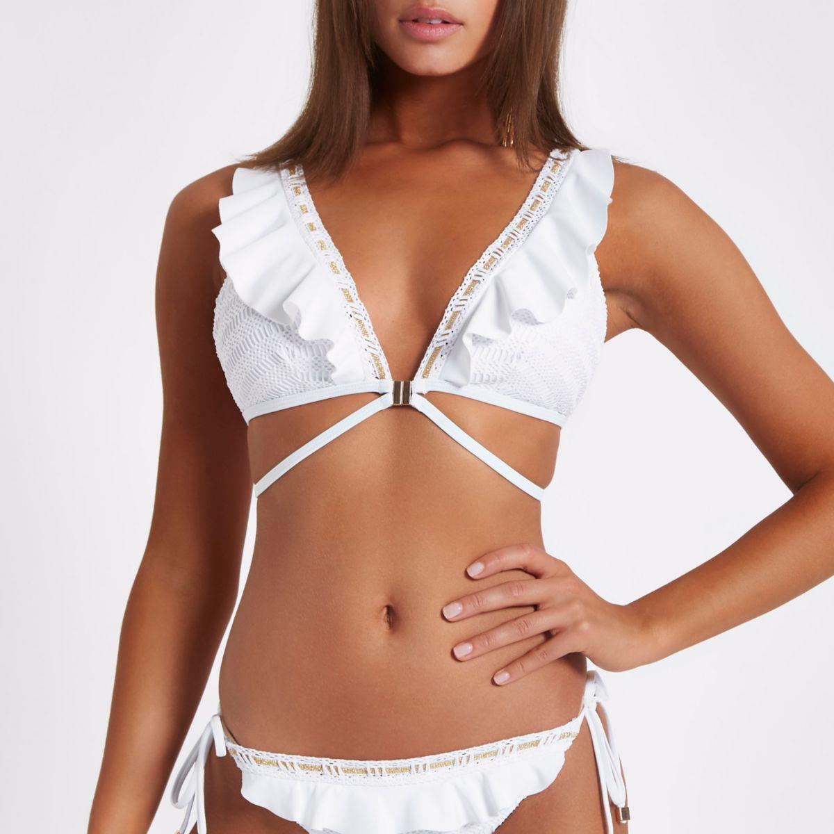 White high apex frill triangle bikini top