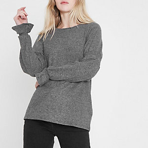 Grey knit shirred sleeve top