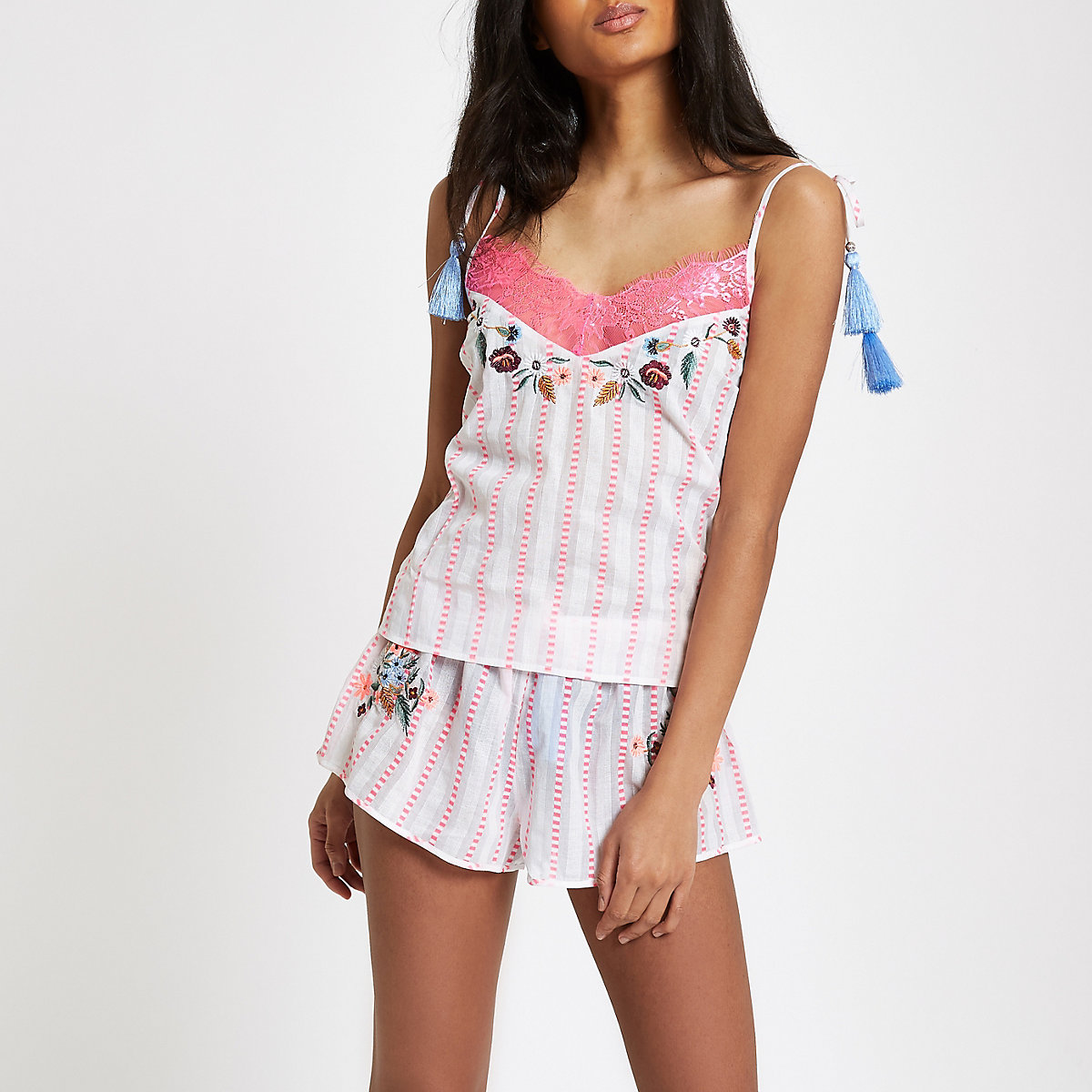 Pink stripe embroidered pyjama cami top