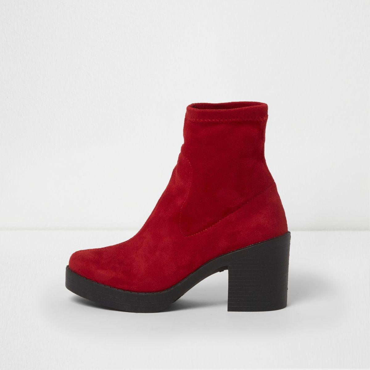 Red chunky block heel sock boots