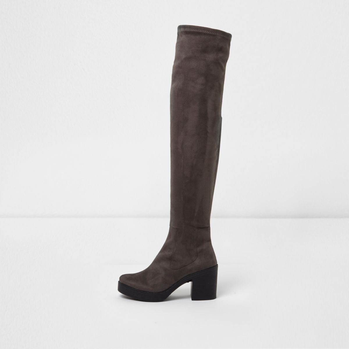 Grey chunky sole over the knee boots