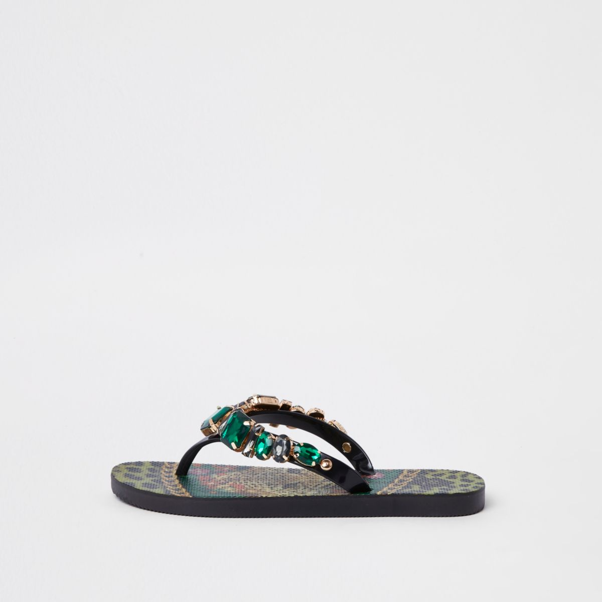 Green jewel embellished flip flops