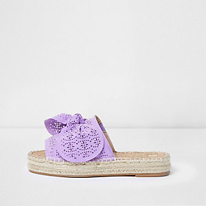 Purple laser cut bow espadrille mules