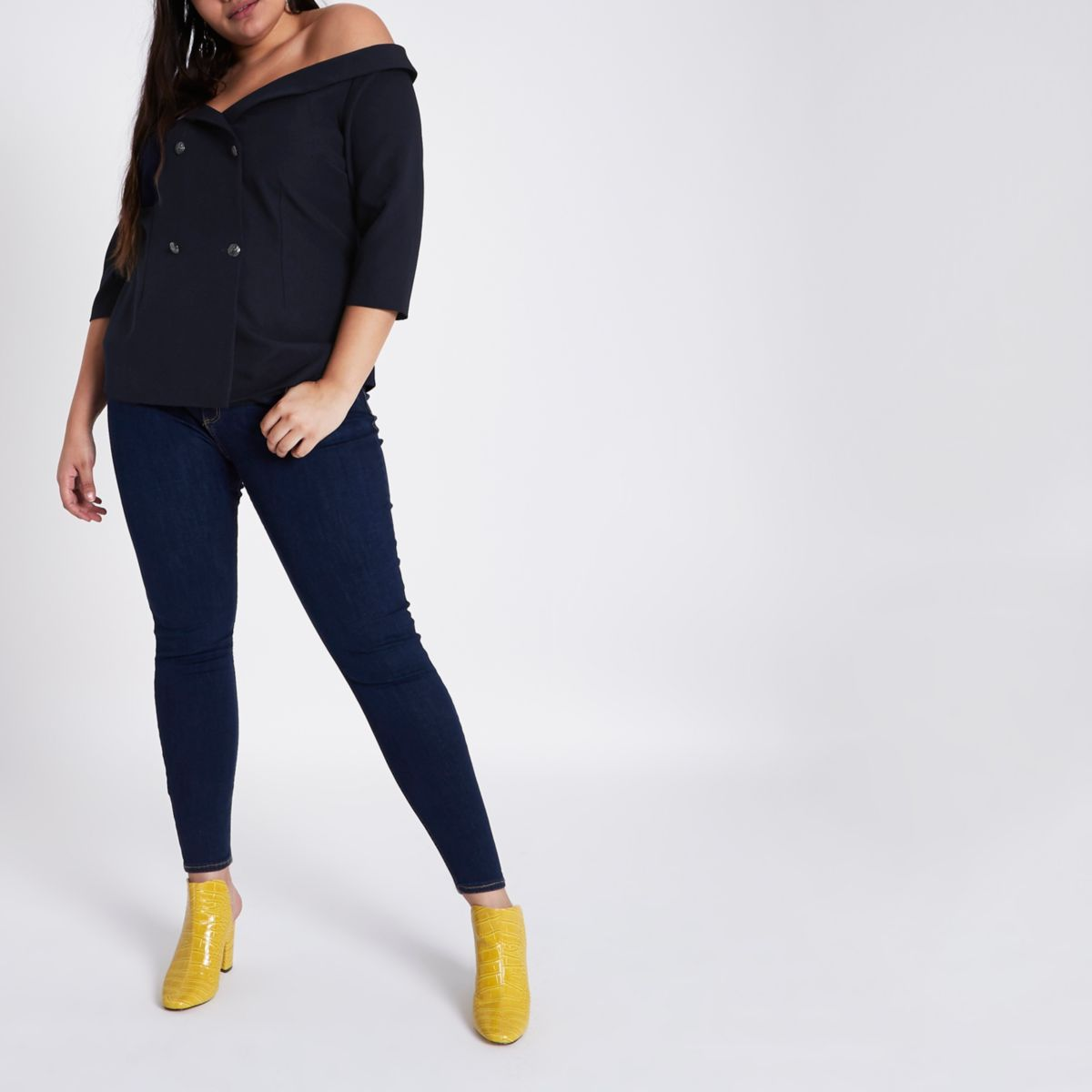 Plus navy double breasted bardot blouse