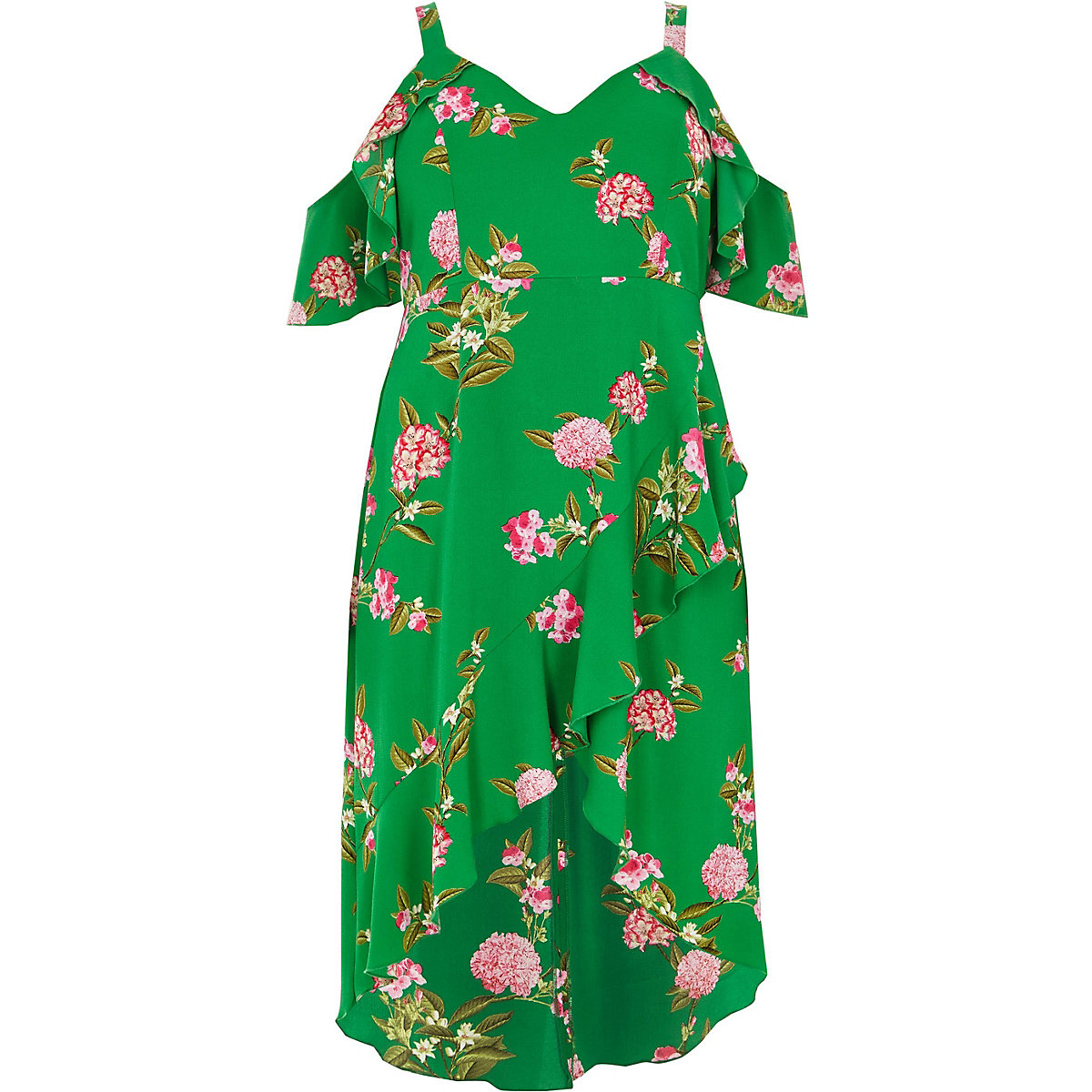 7172ffc9b59 Plus green floral cold shoulder midi dress - Swing Dresses - Dresses ...