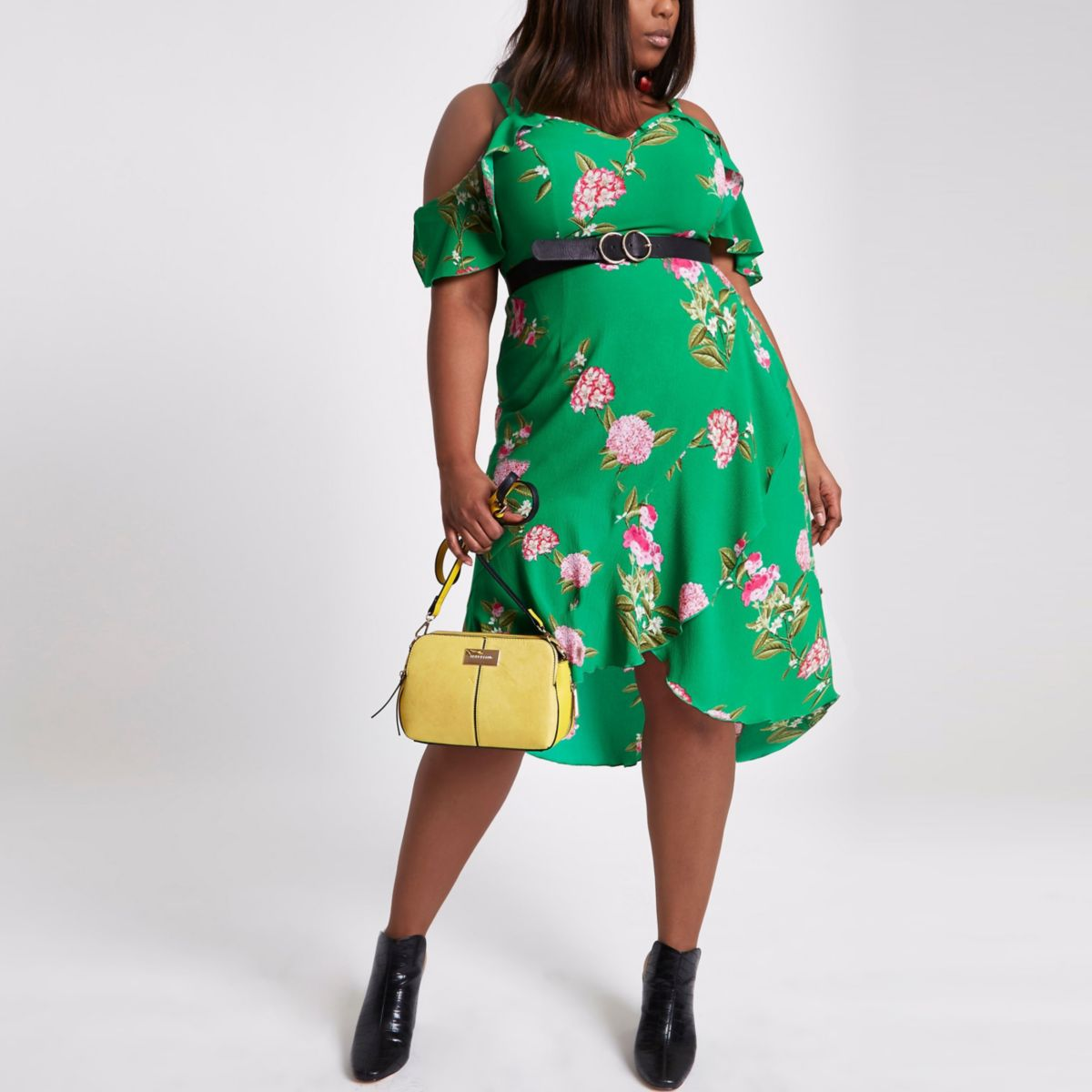 Plus green floral cold shoulder midi dress