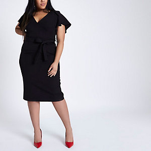 Plus black frill split sleeve tie midi dress