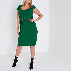 Plus reen cap sleeve ring belt midi dress