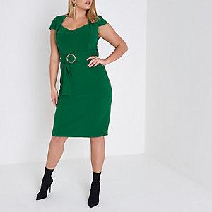 RI Plus - Groene midi-jurk met kapmouwtjes, ring en ceintuur