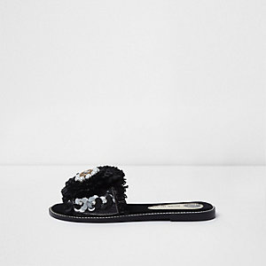 Black raffia flower embellished sandals