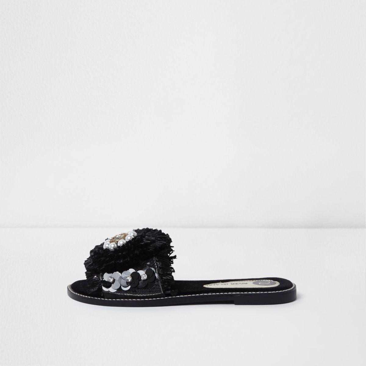 Black raffia flower embellished sandals