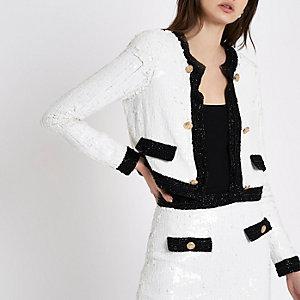 Veste à sequins blanche