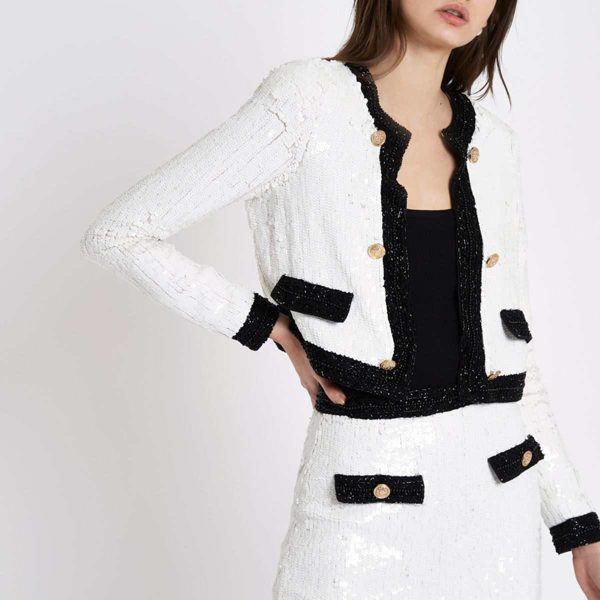 White all over sequin trophy jacket