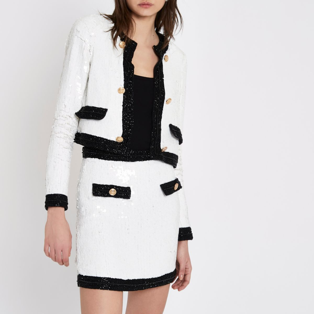 White contrast trim sequin mini skirt