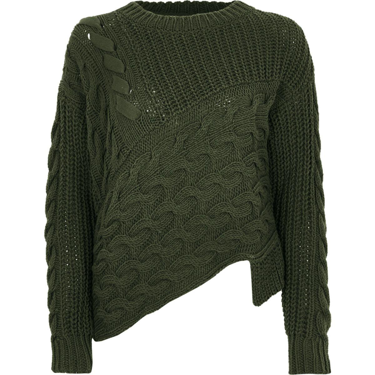 Khaki green cable knit asymmetric sweater