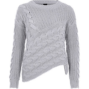 Grey cable knit asymmetric sweater