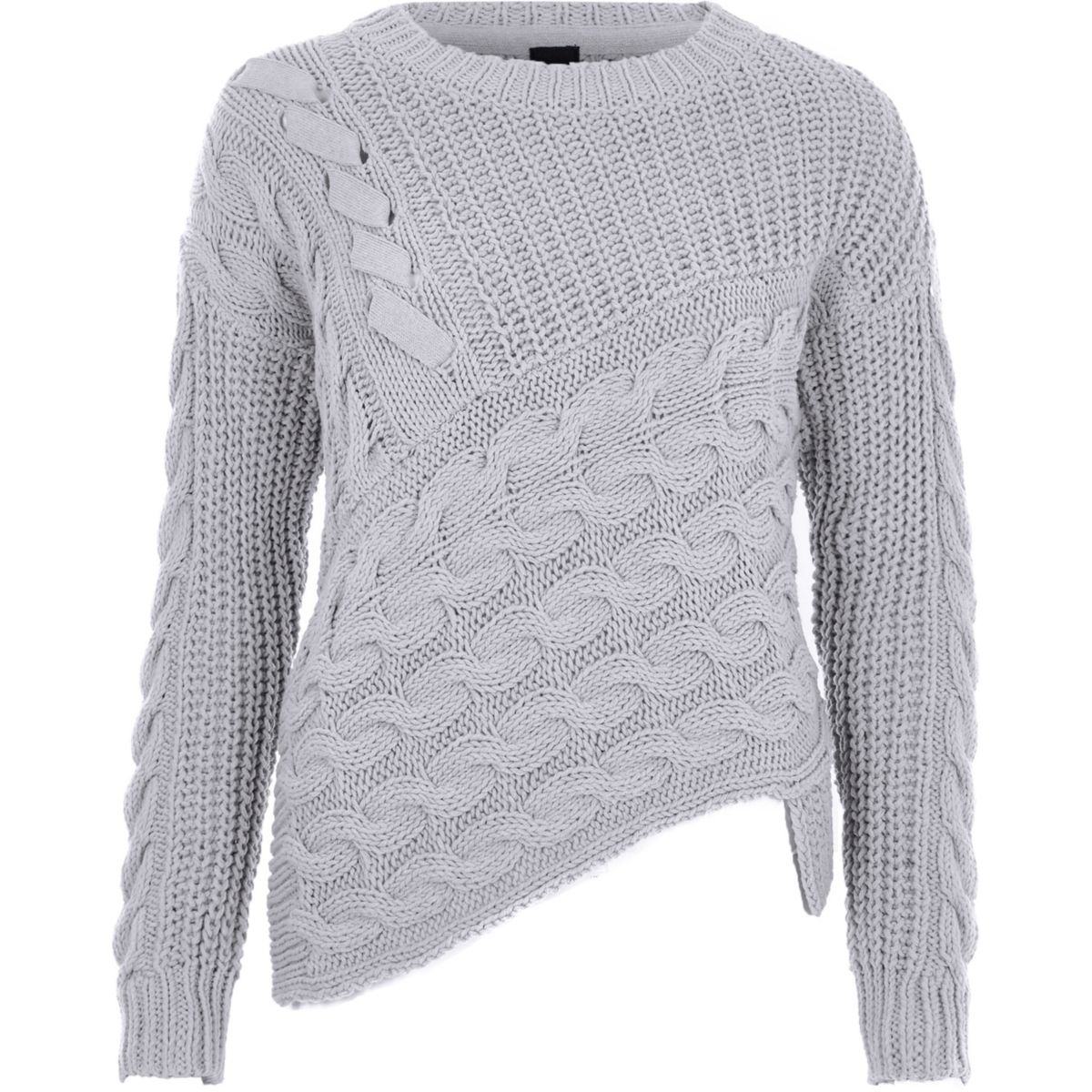 Grey cable knit asymmetric jumper