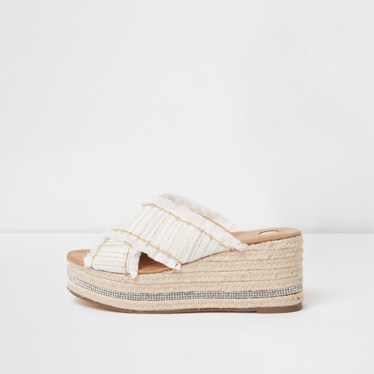 White woven chain trim espadrille wedges