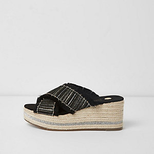 Black woven chain trim espadrille wedges
