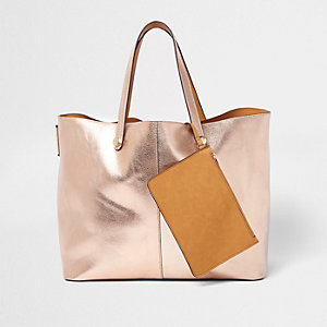 Rose gold metallic reversible beach tote bag