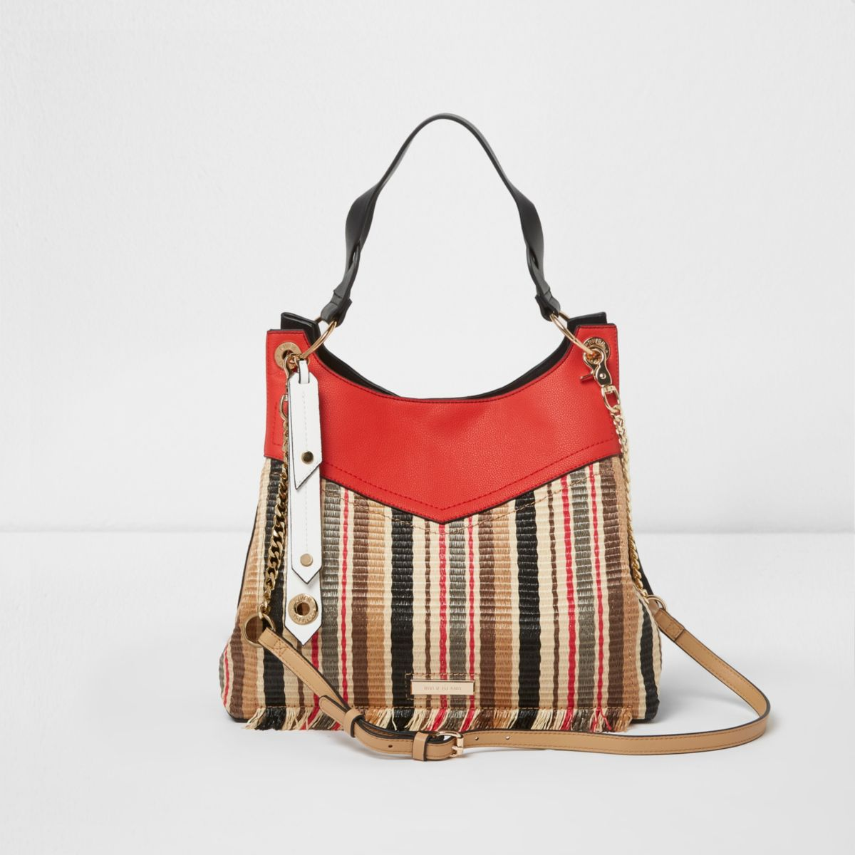Red woven straw stripe fringe slouch bag