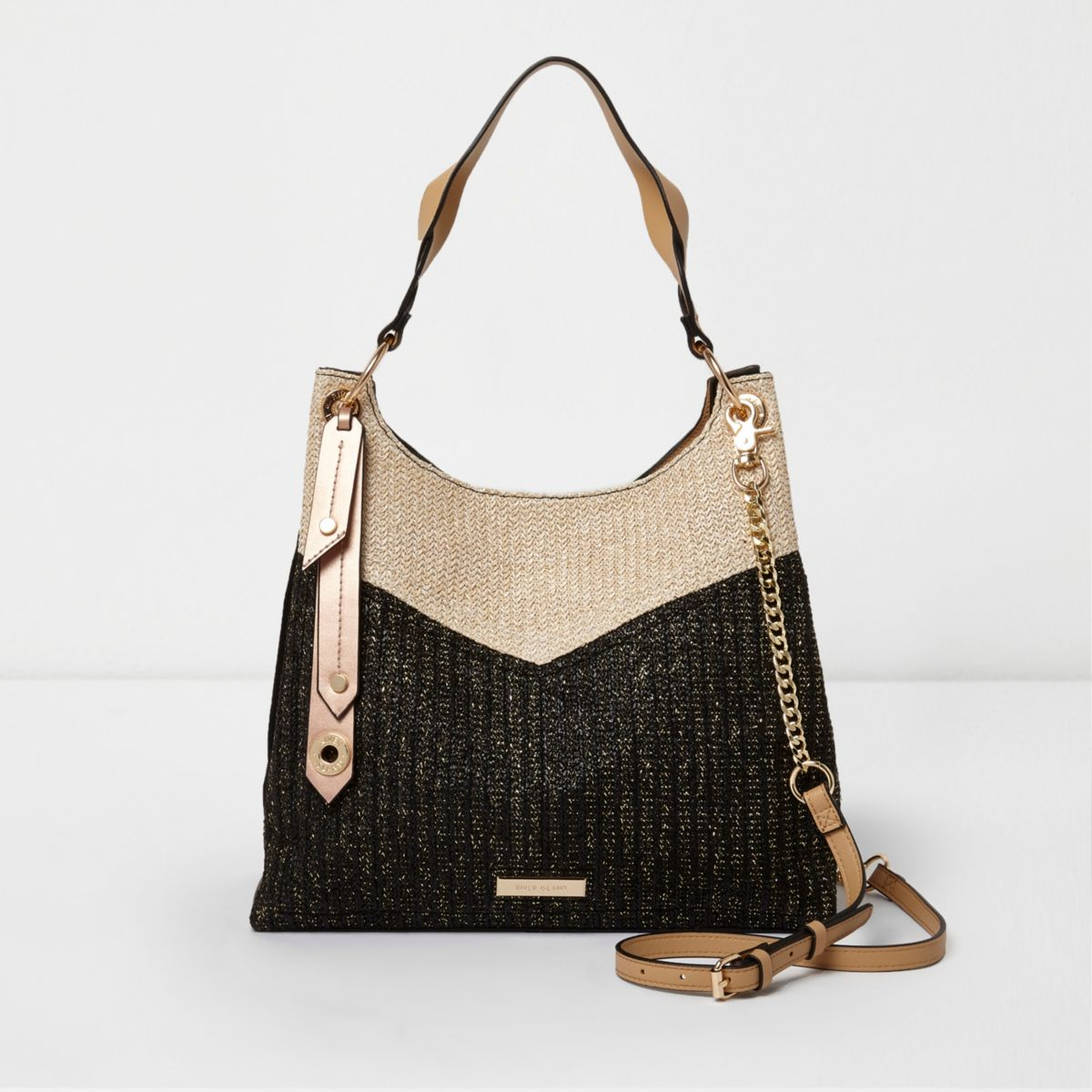 Black blocked woven chain slouch bag