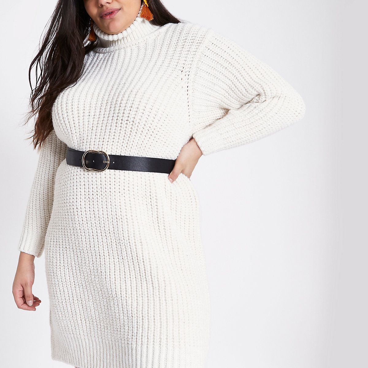 Plus cream roll neck jumper dress