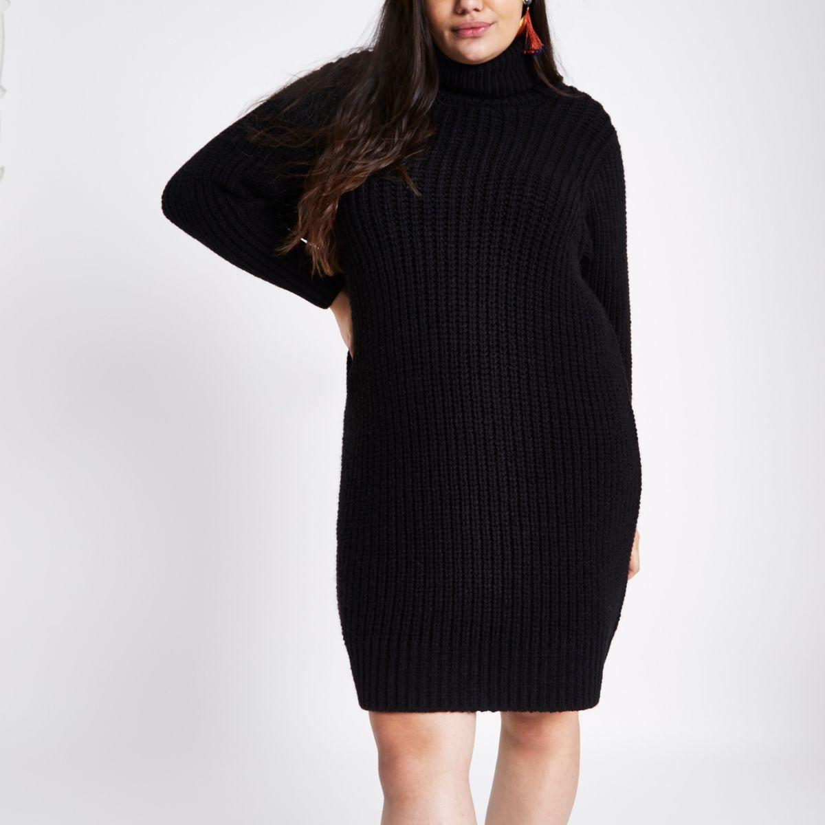 Plus black roll neck jumper dress