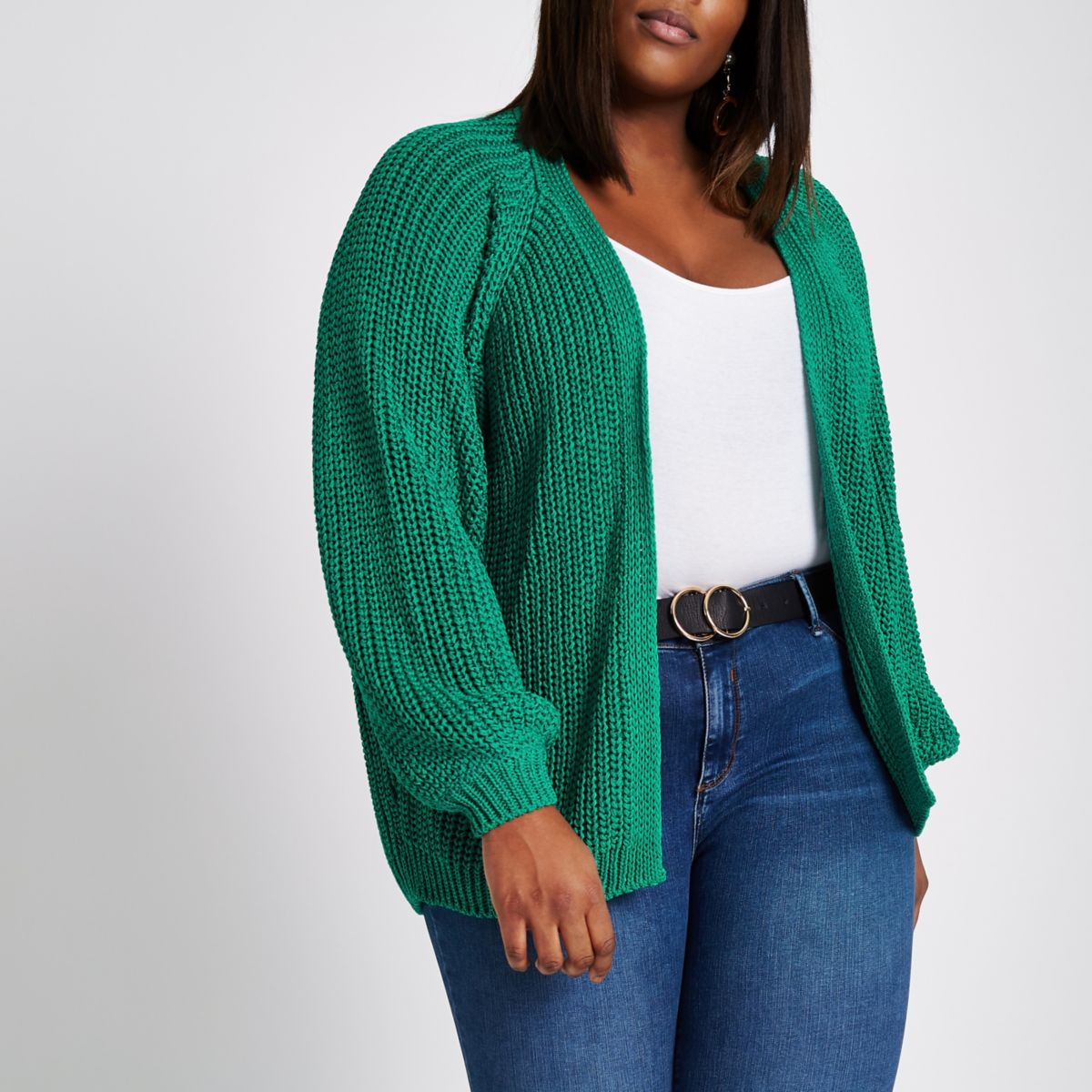 Plus green chunky knit cardigan