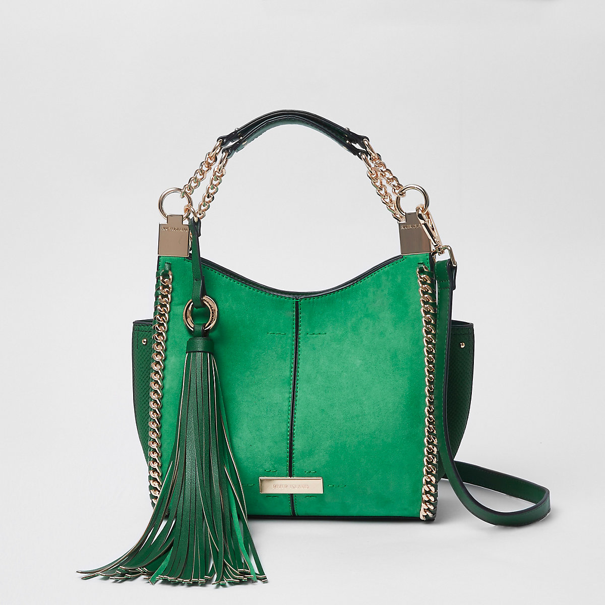 Green chain side mini slouch bag