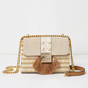Beige woven fringe lock cross body chain bag