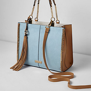 Blue chain trim whipstitch tote bag