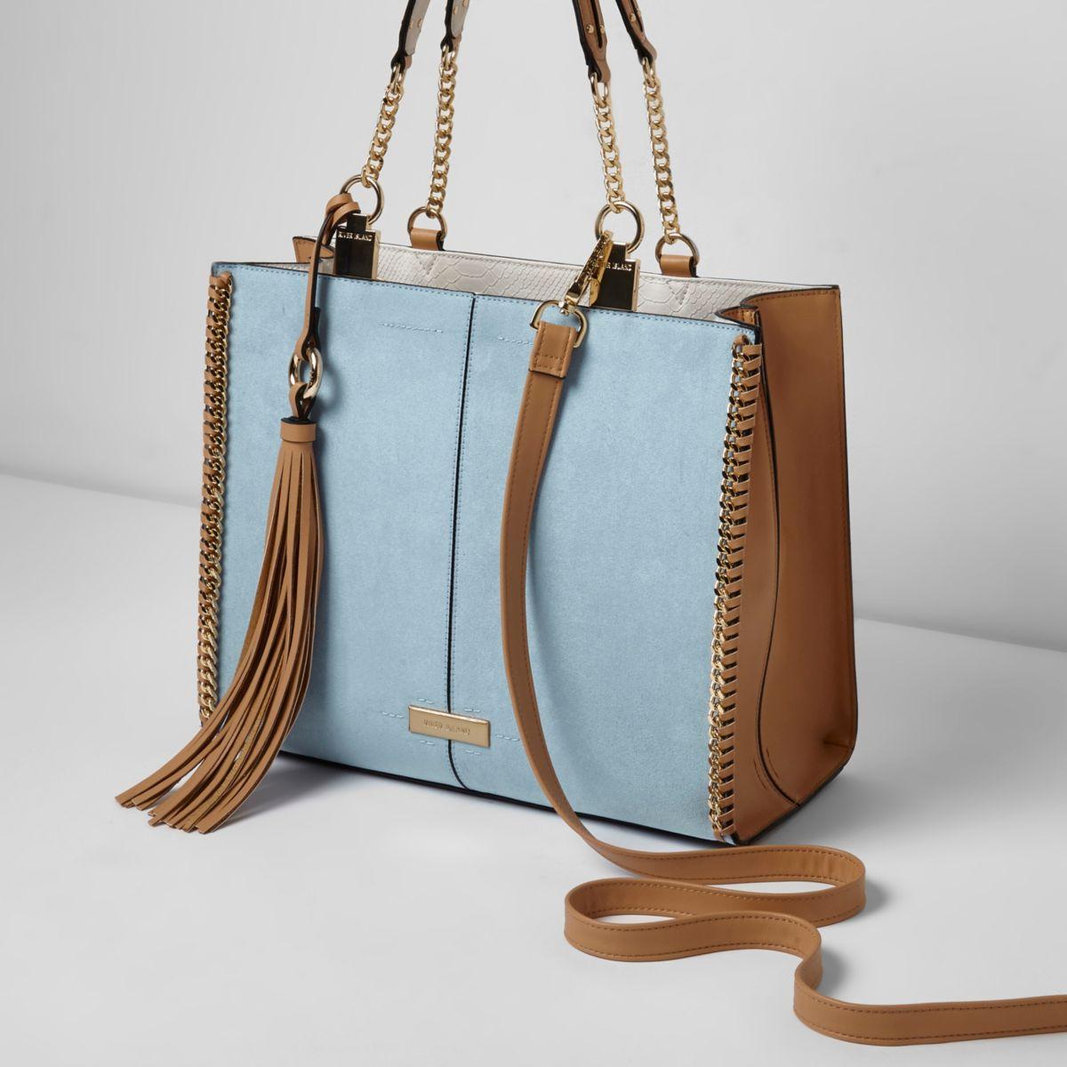 Blue chain trim whipstitch tote bag