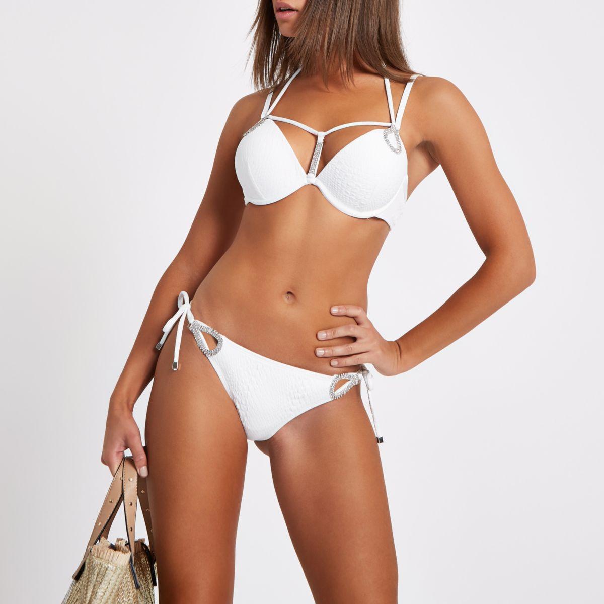 White diamante tie side bikini bottoms