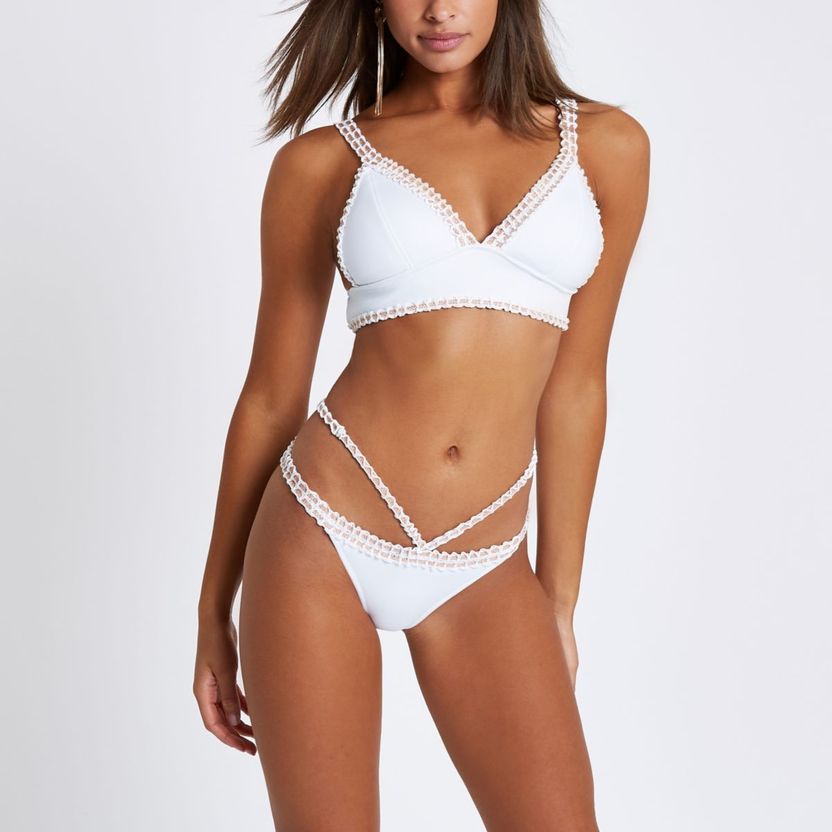 White strappy crochet high leg bikini bottoms