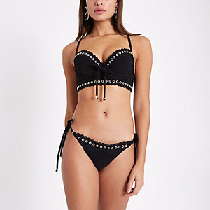 Black eyelet lace tie side bikini bottom