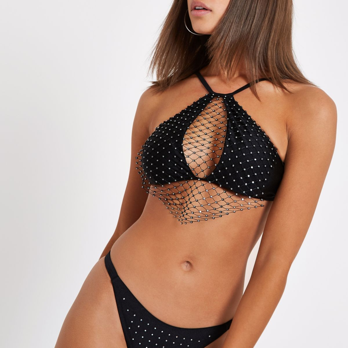 Black rhinestone mesh high apex bikini top