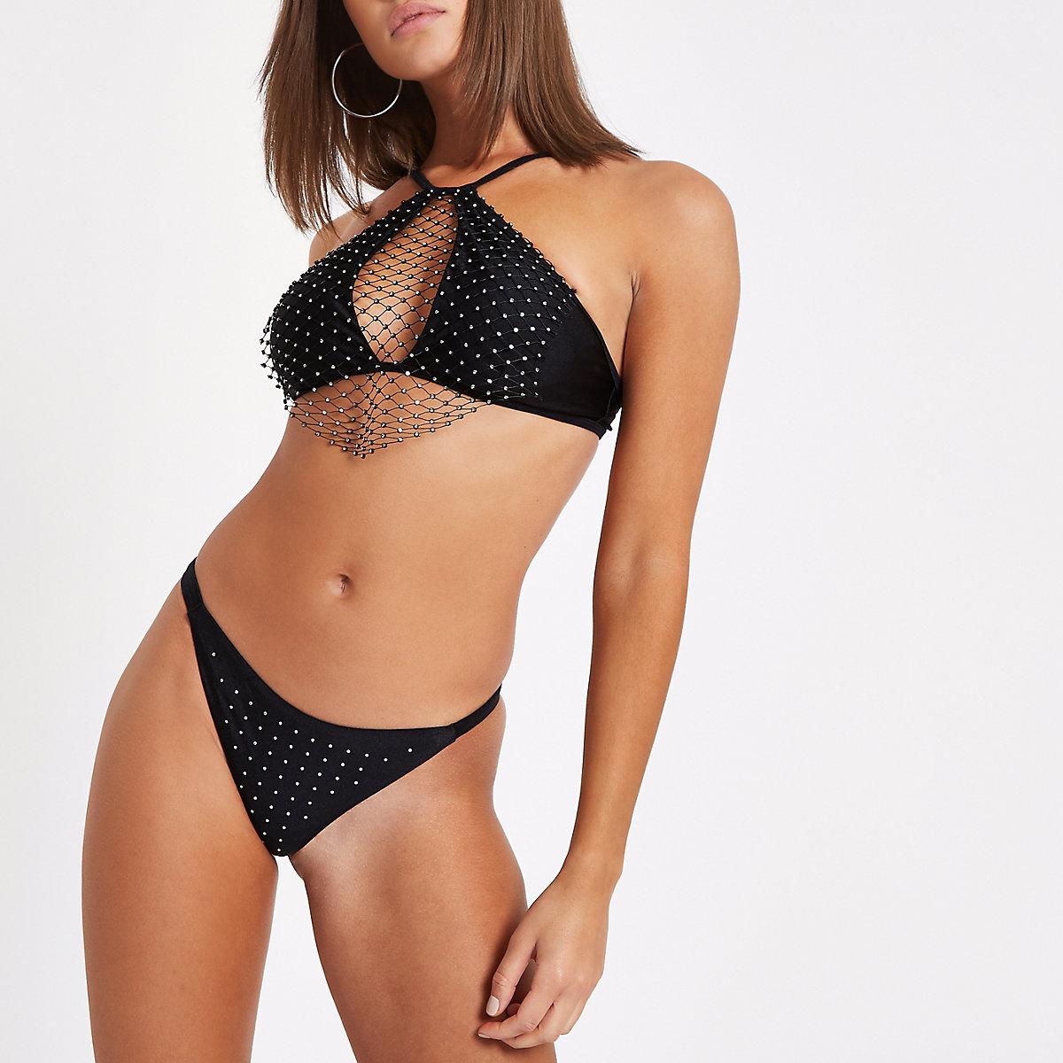 Bas de bikini string noir à strass