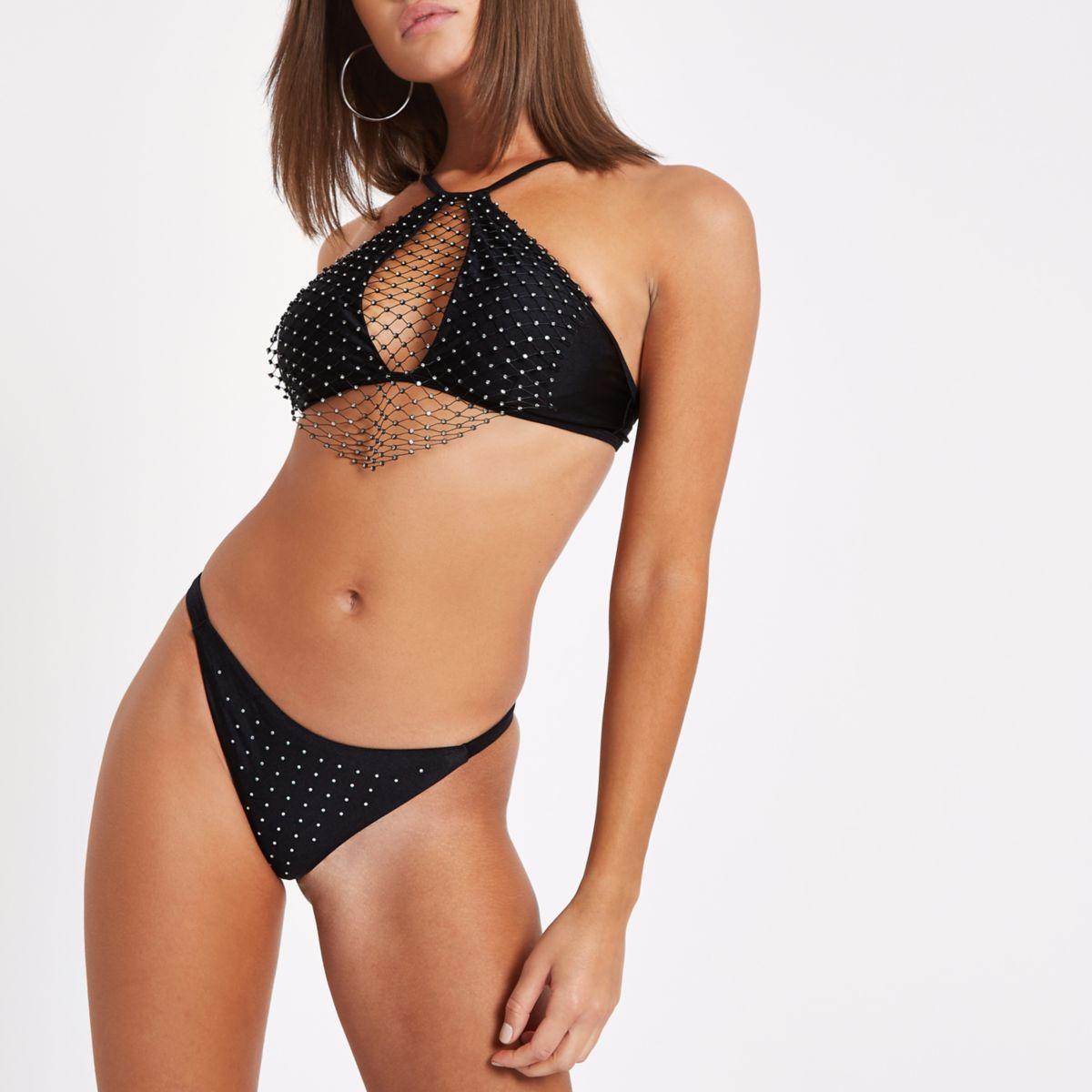 Black diamante thong bikini bottoms