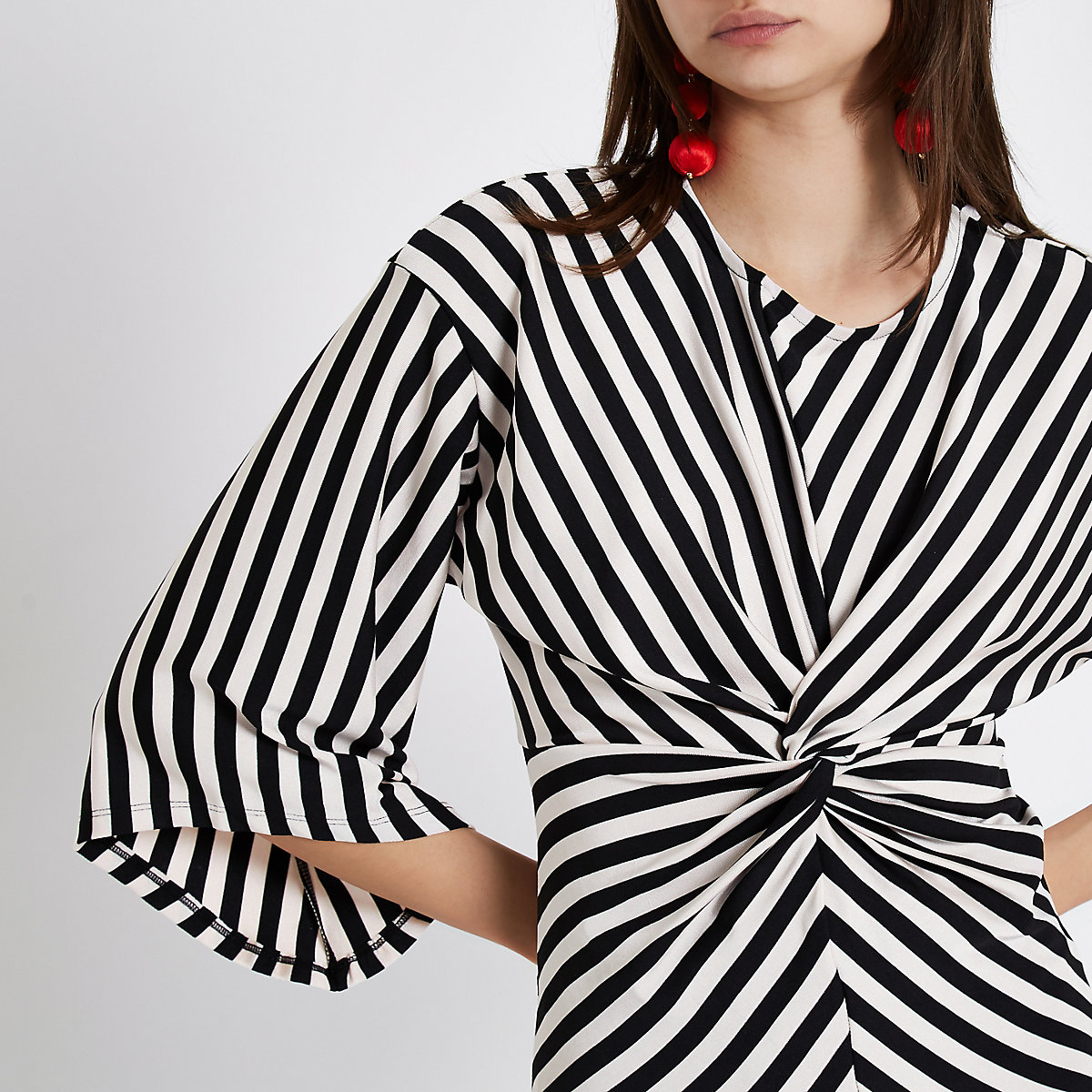 Black stripe print twist front top