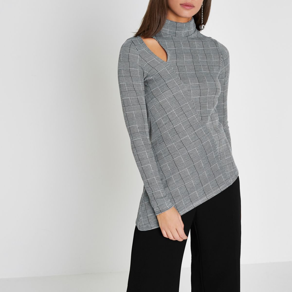 Grey check long sleeve asymmetric hem top