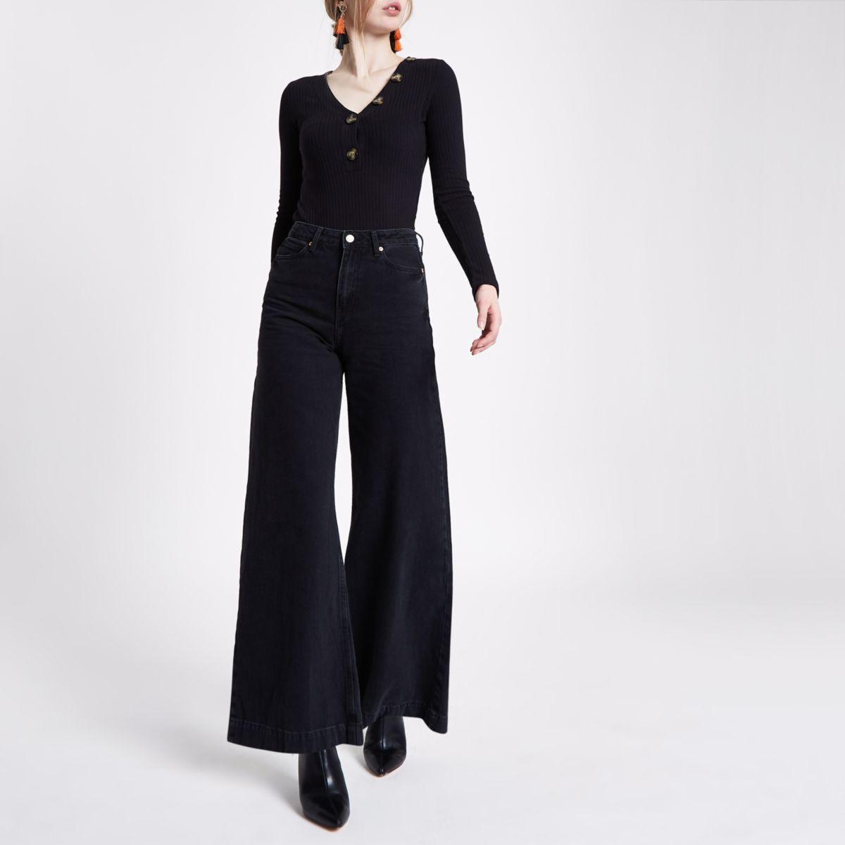 Black rib V neck button long sleeve bodysuit