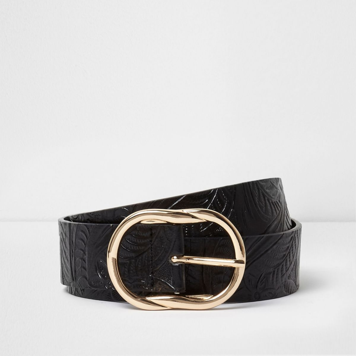Black floral embossed faux leather jeans belt
