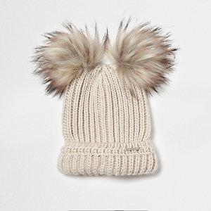 Cream double pom pom beanie hat