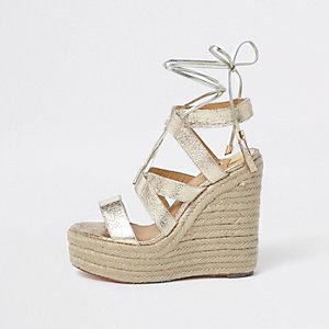 Gold Metallic Tie Up Espadrille Wedges