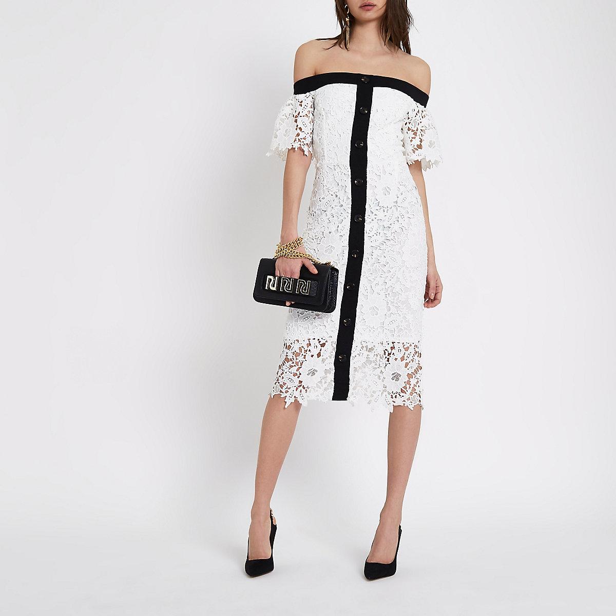 White bardot lace midi dress